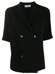 Alberto Biani Fitted Double Breasted Blazer Black
