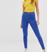 Pull And Bear High Rise Skinny Jeans In Blue Blue