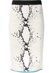 Theatre Products Snakeskin Print Fitted Skirt White