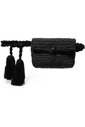 Nannacay Tasseled Toquilla Straw Belt Bag Black