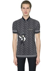 Dolce And Gabbana Cowboy Patch Printed Cotton Pique Polo