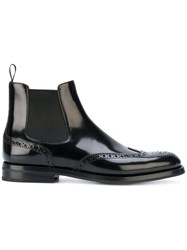 Church's Brogue Ankle Boots Women Leather Rubber 40 Black