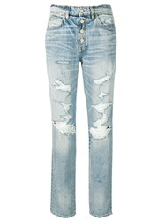 Amiri Distressed Boyfriend Jeans Blue