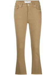 Department 5 Cropped Flared Jeans Brown