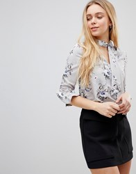 Girls On Film Tie Neck Blouse With Frill Sleeve Detail Grey Navy Foral Prin Multi