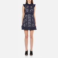 Three Floor Women's Juniper Floral Embroidered Lace Dress Navy Lilac Navy Purple