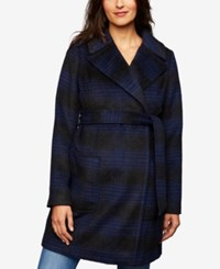 A Pea In The Pod Plaid Maternity Jacket Navy Plaid