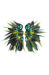 Suzanna Dai Women's Macapa Genuine Feather Earrings Olive Teal