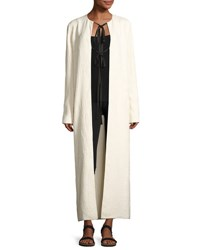 The Row Tiel Crinkled Silk Duster Coat Light Beige