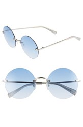 Elizabeth And James Kelly 57Mm Rimless Round Sunglasses Silver Blue Silver Blue