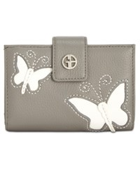 Giani Bernini Leather Butterfly Framed Wallet Created For Macy's Grey Ivory