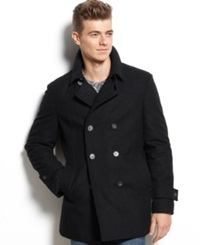 Tommy Hilfiger Double Breasted Wool Blend Peacoat Trim Fit Black