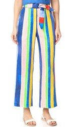 Mara Hoffman High Waisted Tie Front Pants Multi