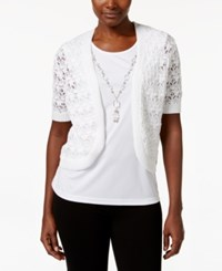 Alfred Dunner Layered Look Necklace Top White