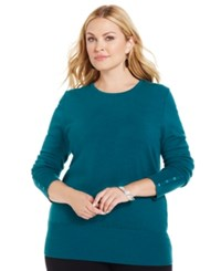 Jm Collection Woman Jm Collection Plus Size Crew Neck Sweater Teal Abyss