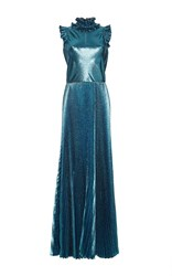 Luisa Beccaria Lurex Pleated Long Dress Blue
