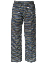 Coohem Lightweight Knit Cropped Trousers Blue