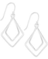 Macy's Unwritten Double Diamond Shaped Dangle Earrings In Sterling Silver