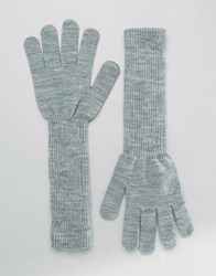 Monki Long Ribbed Glove Grey