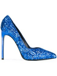 Saint Laurent Sequin Embellished Pumps Blue