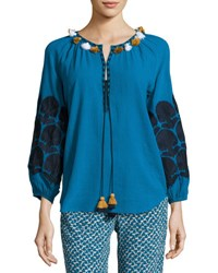 Figue Tassel Trim Cotton Blouse Blue Pattern