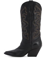 Elena Iachi 70Mm Leather Tall Cowboy Boots Black