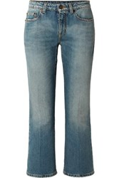 Saint Laurent Cropped Mid Rise Flared Jeans Blue