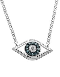 Lord And Taylor Sterling Silver Evil Eye Pendant Necklace With Green Black Diamonds Blue Silver
