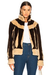 Attico Sara Short Faux Fur Jacket In Brown Neutrals Brown Neutrals