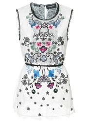 Yigal Azrouel Floral Embroidered Top White