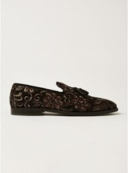 Topman Red Burgundy Sully Sequin Tassel Loafers