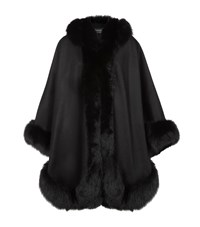 Harrods Of London Cashmere Hooded Cape With Fox Trim Female