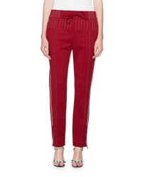 Valentino Topstitched Techno Jersey Track Pants Red White