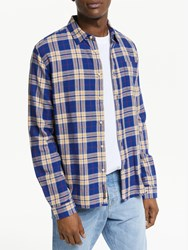 Scotch And Soda Brushed Flannel Check Shirt Blue