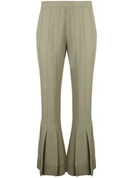 Marco De Vincenzo Flared Cropped Trousers Green