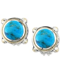 Effy Collection Turquesa By Effy Manufactured Turquoise Stud Earrings 8 3 8 Ct. T.W. In Sterling Silver And 18K Gold Blue