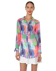 Isaac Mizrahi Multi Color Print Chiffon Blouse Blue Multi