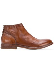 Moma Back Zip Ankle Boots Brown