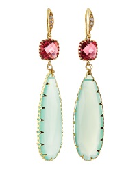 Indulgems Crystal And Aqua Chalcedony Teardrop Earrings