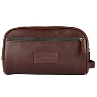 Barbour Leather Wash Bag Dark Brown
