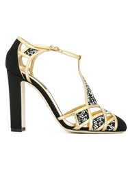 Dolce And Gabbana Embellished T Bar Sandals Black