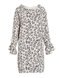Gina Bacconi Abstract Animal Stretch Georgette Dress Navy