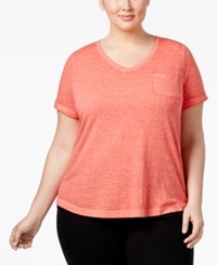 Style And Co Co. Plus Size Burnout T Shirt Only At Macy's Dark Rose