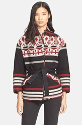 Iro 'Ashton' Belted Wool Blend Jacket Red Navy
