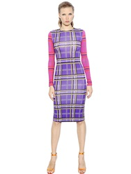 House Of Holland Plaid Print Viscose Jersey Pencil Dress Purple Pink