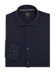 Strellson Textured Cotton Regular Fit Dress Shirt Navy