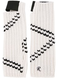 Raf Simons Contrast Knitted Gloves White