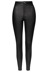 Topshop Faux Leather Skinny Trousers Black