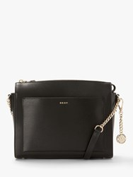 Dkny Bryant Sutton Medium Leather Zip Top Cross Body Bag Black Gold
