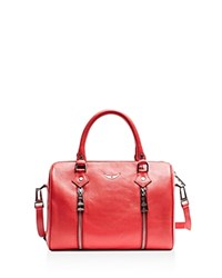 Zadig And Voltaire Sunny Small Leather Satchel Red Silver